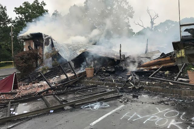 "First Pentecostal Church, Holly Springs, Mississippi burnt to ashes by ""Protesters"""